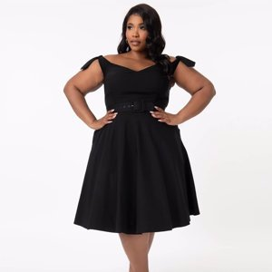 Unique Vintage Plus Size Black Prairie Swing Dress