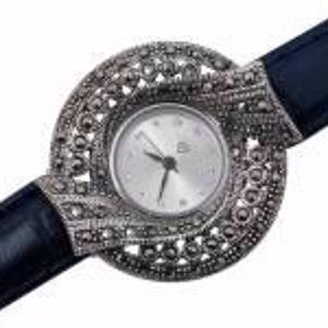 Silver 925 Watches - Marcasite Leather
