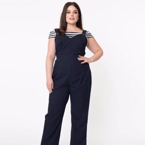 Unique Vintage Plus Size 1970s Navy Blue Sedgewick Jumpsuit