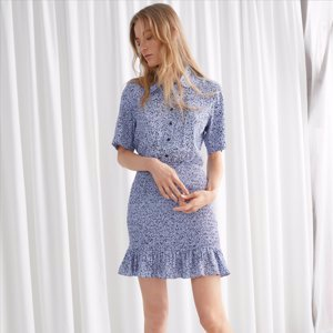Smocked Mini Shirt Dress