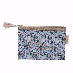 Flat Pencil Case with Small Flower Print Blue