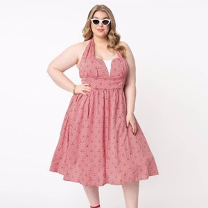 Unique Vintage Plus Size Red Gingham & Cherry Print Shelia Swing Dress