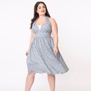 Unique Vintage Plus Size Light Blue Gingham & Cherry Print Shelia Swing Dress