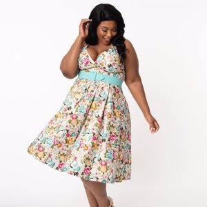 Unique Vintage Plus Size Ivory & Multicolor Print Tarrytown Hostess Dress